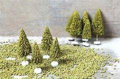 Nine Green Artificial CHRISTMAS TREES~Farmhouse Primitive/French Country Decor #NaivePrimitive
