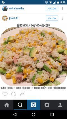 arroz com atum , abacate e milho