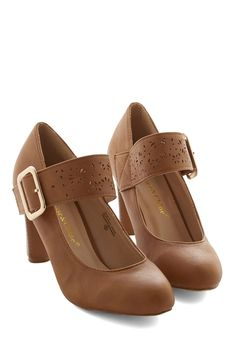Help Yourself Heel in Brown - Mid, Faux Leather, Tan, Solid, Buckles, Work, Vintage Inspired, 70s, Holiday Party