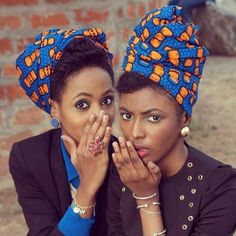 Loving the Head Scarf on the girl on the left. Need a How-To on that!