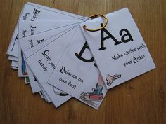 Those alphabet movement cards are perfect for children play inside the classroom and learning through music and movement. Movement Activities, Alphabet Activities, Literacy Activities, Music Activities, Physical Activities, Learning Letters, Kids Learning, Kinesthetic Learning, Learning Tools