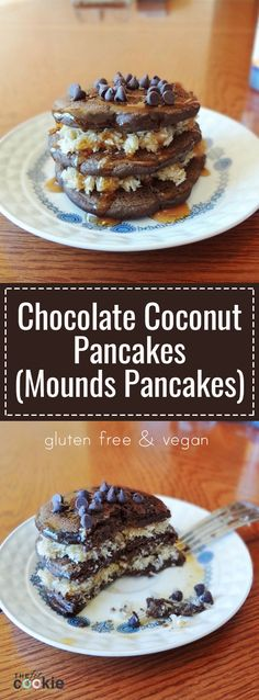 Get a little decadent for breakfast with these Chocolate Coconut Pancakes, aka Mounds Pancakes! This breakfast only looks sinful: it's whole grain, natural, gluten free, and vegan. - @TheFitCookie #breakfast #glutenfree