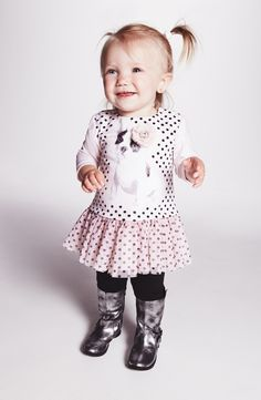 Adorable! Love this little 'polka dot dog' tunic with leggings.
