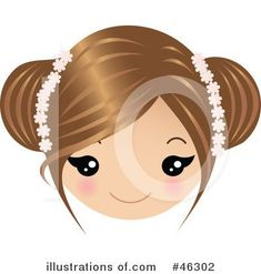 Brown haired little girl clipart