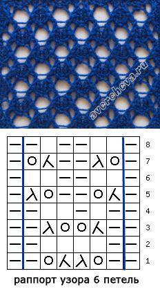 russian knit charts-- Простой ажурный узор спицами