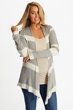 Classic, neutral colors such as these work together flawlessly for the perfect striped colorblock cardigan with a flowy open front that makes for a casual, flattering look. Grey-White-Striped-Colorblock-Maternity-Cardigan