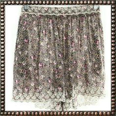 Free People Camel Floral Print Dress Short Want to feel free?  Want to look pretty?  Want to be comfortable while doing it?  Well then,  these shorts are for you! Light,  airy, non-restrictive, lacey,  floral; isn't that what all women want to feel sexy without all the work?   Care Instructions: Machine Wash Measurements:  Hip: 28 in  Waist: 26 in Free People Shorts