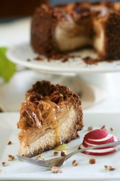 Healthy Apple, Pecan and Honey Caramel Cheesecake