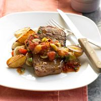 Beef and Baby Spuds with Tomato-Olive Ragout - Makes: 4 servings  Start to Finish: 25 mins