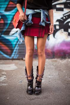 Song of Style in the 90′s Grunge movement.  Haute Couture girl in Chanel's kiss ass boots.
