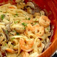 Creamy Shrimp & Mushroom Pasta. I like that it uses cream cheese, which left it with a nice creamy texture. I sauteed the mushrooms in olive oil instead of butter. I also cut the butter in half (4 T. instead of 8 T.) She says not to, but I thought it tasted fantastic. It was a really fast dinner...will be making again!