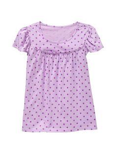 purple polka dot ruffle blouse...