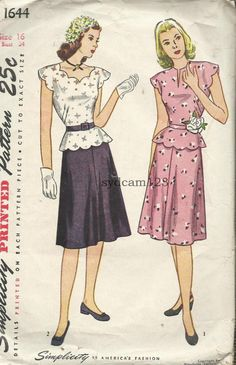 Vintage 1946 Dress Scalloped Neck and Peplum Slightly Flared Skirt...Simplicity 1644 Bust 34. $14.00, via Etsy.