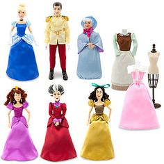 **NIB NEW DISNEY STORE CINDERELLA, PRINCE, STEP SISTER, MOTHERS 6 DOLLS GIFT SET--for some bizarre reason my daughter really wants the stepsisters. she also begged to meet them at Disney.