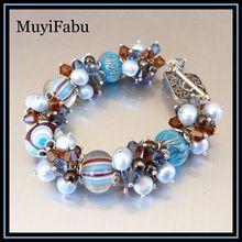 Lampwork Glass and Swarovski Crystal Bracelet $89 http://www.rubylane.com/shop/muyifabu