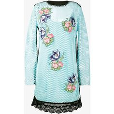 House Of Holland Floral Embroidered Mesh Dress (5.145.265 VND) ❤ liked on Polyvore featuring dresses, long sleeve mesh dress, flower embroidered dress, mesh sleeve dress, multi-color dresses and blue dress