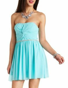 ruched twist beaded strapless dress-to go with the turkquiose flip flop things from C.R (Charlotterusse!)