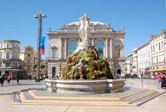 La Place de la Comedie, Montpellier, France  (La Fontaine des trois Graces)