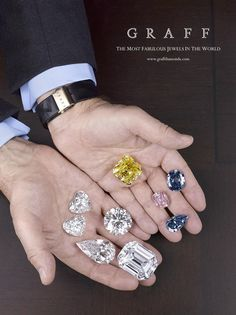 Laurence Graff (Graff Diamonds) holds 742 cts in diamonds.Clockwise, upper position: Delaire Sunrise (yellow) / Wittelsbach-Graff (blue diamond) / Graff Pink / Blue Ice / The Magnificence / The Flame / The Constellation Graff / The Graff Sweethearts Gems Jewelry, Diamond Jewelry, Diamond Earrings, Fine Jewelry, Graff Jewelry, Gems And Minerals, Diamond Are A Girls Best Friend, Kitsch, Colored Diamonds