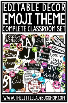 You will Love this unique bright Emoji Theme Décor Set! This classroom decor is editable to meet your needs. Your students will be excited to see this fun emoji classroom decor this school year! #emojiclassroomdecor #emojidecor #emojitheme #bulletinboard #classroomdecor #backtoschool