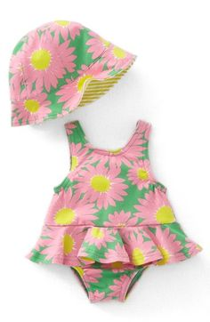 """Free shipping and returns on Mini Boden One-Piece Swimsuit & Hat (Baby Girls) at Nordstrom.com. <p><B STYLE=""""COLOR:#990000"""">Pre-order this style today! Add to Shopping Bag to view approximate ship date. You'll be charged only when your item ships.</b></p><br>A bright flowery print adds to the undeniable charm of a one-piece swimsuit featuring a ruffly skirt and matching bucket hat."""
