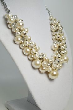 Ivory Pearl Necklace with Crystals Bridal Jewelry by Eienblue