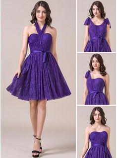 A-Line/Princess Sweetheart Knee-Length Charmeuse Lace Bridesmaid Dress With Ruffle Bow(s)