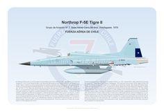 Lithography of Chilean Air Force Northrop F-5E, #J800 from 7th Squadron, Cerro Moreno Air Base, Antofagasta, 1976.