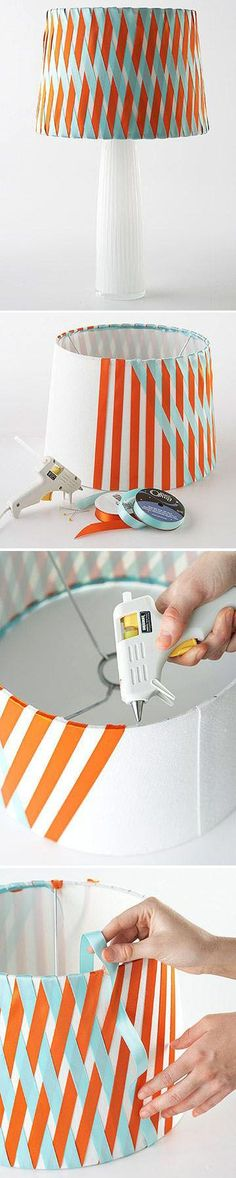 Easy No-Sew Ribbon Projects DIY Woven Ribbon Lamp Shade how cute, just think you can use ribbon's of all colors to match your room. Ribbon Projects, Ribbon Crafts, Diy Projects To Try, Craft Projects, Spring Projects, Diy Ribbon, Diy Home, Home Crafts, Diy And Crafts