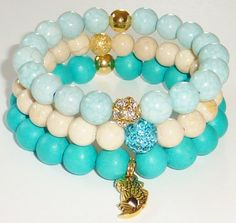 NEWWood Bead Bracelet in Turquoise Green with Gold by rockstarsz, $11.99