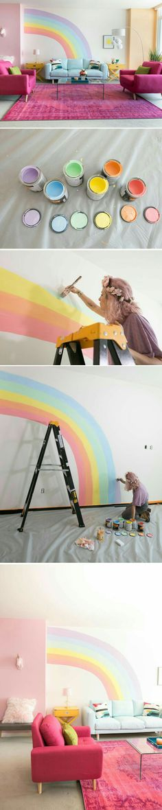 Rainbow wall | kids room | playroom | pastel