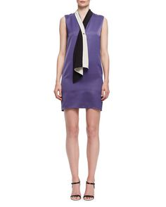 LANVIN Tie-Neck Sleeveless Shift Dress, Lilac. #lanvin #cloth #