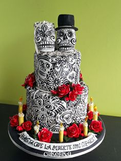 Day of the dead themed wedding cake. Super awesome  black and white, cultural cake! - Beth the Baker