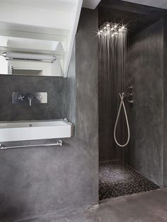 we can also find the existence of concrete bathroom, which includes concrete floor as well as concrete sink. Check out our collection of 28 Best Concrete Bathroom Design Ideas. Concrete Shower, Concrete Bathroom, Concrete Sink, Concrete Floor, Granite Shower, Concrete Walls, Polished Concrete, Bathroom Design Inspiration, Bad Inspiration