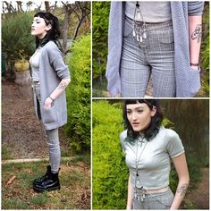 Dotti Grey Knit Cardigan, Dr. Martens Jadon Boot, Topshop Metallic Crop Top, Topshop Plaid Pants, Lovisa Crystal Harness