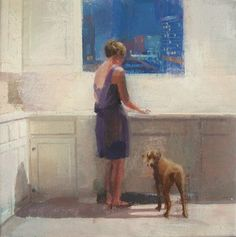 At the end of day - Alejandra Caballero Spanish, b. Oil on canvas, 27 cm x 27 cm End Of Days, Moon Art, Figure Painting, Aesthetic Art, I Love Cats, Cool Artwork, Art Museum, Oil On Canvas, Dog Cat
