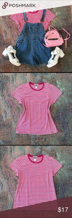 Vintage urban boho striped pink tshirt top Fun flirty Gap 90s bubble gum pink striped tshirt. That absolutely perfect top to wear under overalls. Size labeled large, Fits a large fitted. Cutely oversized on a small/medium. Perfect condition. No flaws. Banana hat also for sale! Feel free to bundle! Tops Tees - Short Sleeve