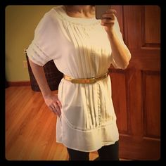 "Price Drop H&M Grecian inspired tunic This sheer tunic has great details and is very versatile. Can worn betled with leggings (as pictures) or as a stylish bathing suit coverup. I am (5'4"") for length reference. This is in perfect condition- I only wore it one time. H&M Tops Tunics"