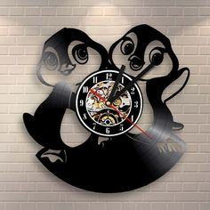 Funny Penguins Cute Animal Creative Timepiece Vinyl Clock Vintage Record Wall Clock Kids Room Decor Gift