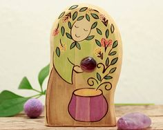 The HERBALIST - Mother of herbs - HERBAL WITCH - Wooden Waldorf Toy with gemstone - nature table decoration - eco gift - gift for gardener
