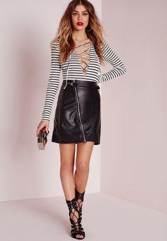 6d21659dd23666 Missguided - Lace Up Stripe Bodysuit Cream Striped Bodysuit
