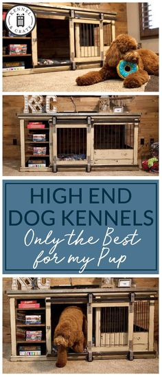 Buy Luxury Dog Kennels and Stylish Dog Crates from Kennel & Crate Rustic & classic piece to replace your dogs' wire crate. Perfect as an entry table or entertainme Dog Kennel Inside, Diy Dog Kennel, Plastic Dog Kennels, Luxury Dog Kennels, Dog Kennel Designs, Wire Crate, Airline Pet Carrier, Cavachon Puppies, Pet Hotel