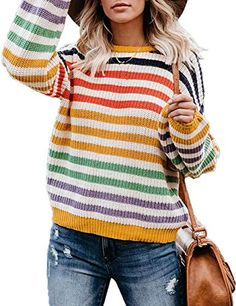 Shrug Sweater, Pullover Sweaters, Rainbow Sweater, Casual Fall Outfits, Striped Knit, Long Sleeve, Crew Neck, Sleeves, Warrior Women