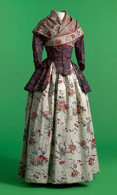 1770-1800 Jacket and shawl in chintz, skirt in glazed printed cotton. Via Fashion Museum Province of Antwerp. Photo by Hugo Maertens, Bruges.