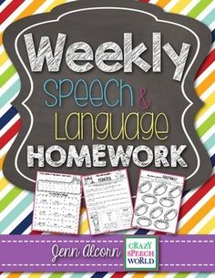 This homework packet is going to save you time and increase your student's carryover, and we all know that leads to success! Included are:  -27 speech & language homework (one speech, one language for each theme)-4 literacy homework pages that can relate ANY book you read in therapy-Parent letters, with two different templates.