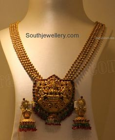 Antique Beaded Gold Haram with Lakshmi Pendant - Indian Jewellery Designs South Jewellery