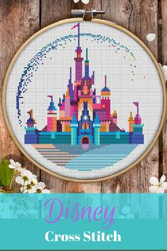 This is modern cross-stitch pattern of Disneyland for instant download. A cool tip to decorate a kid's room. #disney #affiliate