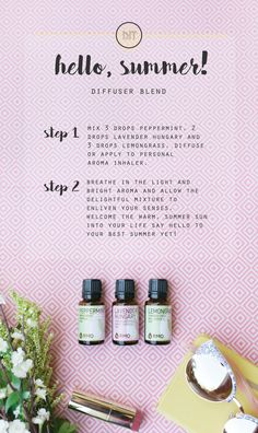 Peppermint, Lavender Hungary and Lemongrass combine to create this essential oil diffuser blend, Hello, Summer! This blends light and bright aroma will bring the warm, summer sun into your life. Say hello to your best summer yet!