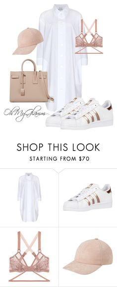 """""""white shirt oversized comfy ootd"""" by maria-barragan on Polyvore featuring moda, Acne Studios, adidas Originals, Lonely y Yves Saint Laurent"""