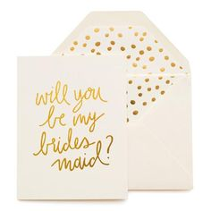 The Sugar Paper Playful Maid of Honor card is letterpress printed by hand on antique machinery. Gold foil on cream paper, paired with a cream envelope and gold foil dalmatian liner. Single card with envelope Dimensions: x inches Ask Bridesmaids To Be In Wedding, Asking Bridesmaids, Be My Bridesmaid Cards, Bridesmaid Proposal, Bridesmaid Gifts, Bridesmaid Ideas, Wedding Paper, Wedding Guest Book, Wedding Cards